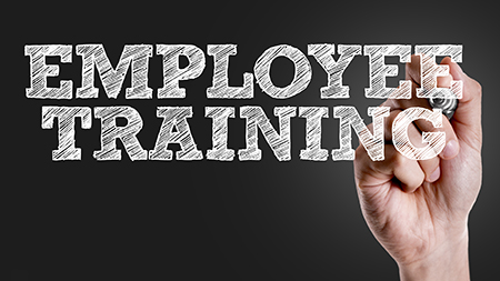 Hand writing the text: Employee Training